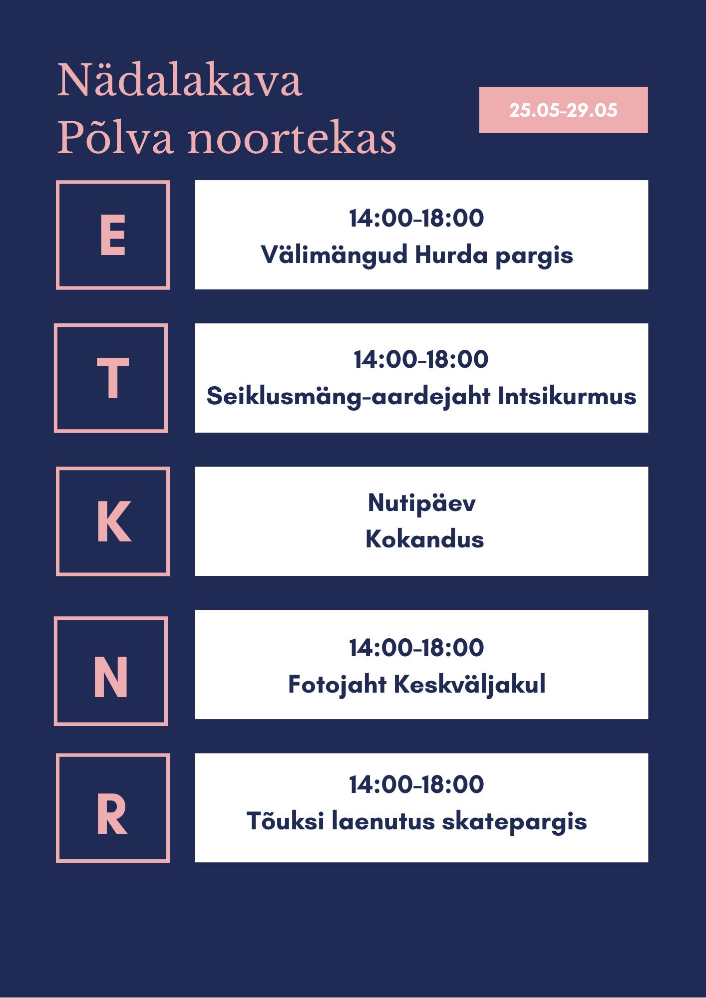 Põlva noortekeskuse tegevused 25.-31.05.2020