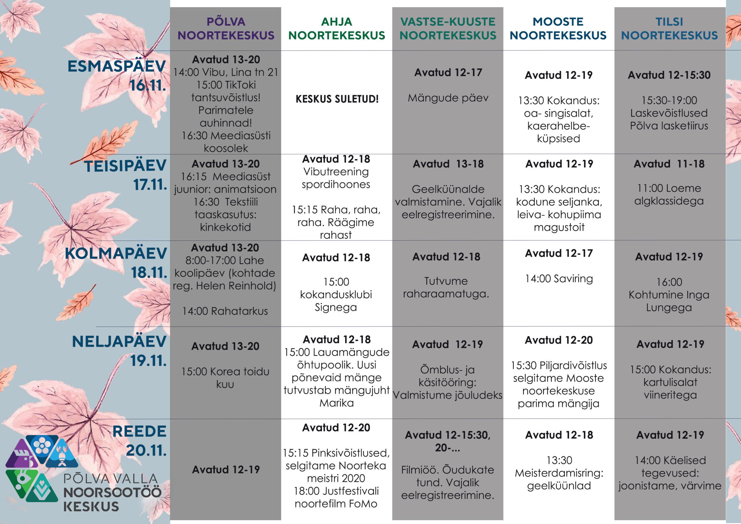 16.-20. november 2020 Põlva valla noortekeskustes
